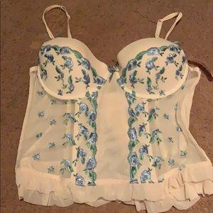 Sophie B cream & floral corset top size L